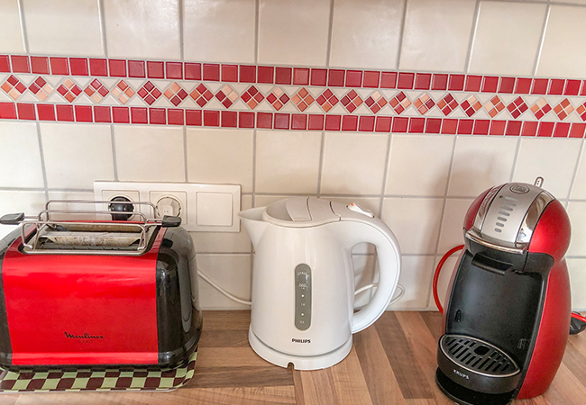 toaster, kettle and coffee pod machine
